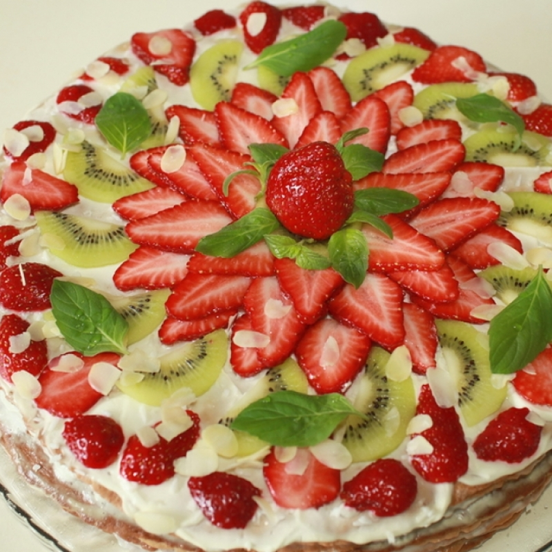 Cake With Fresh Fruit Topping Recipe