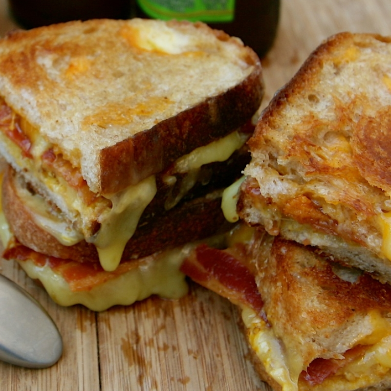 Grilled Cheese Sandwich With Crispy Bacon And Pumpkin Mustard Recipe