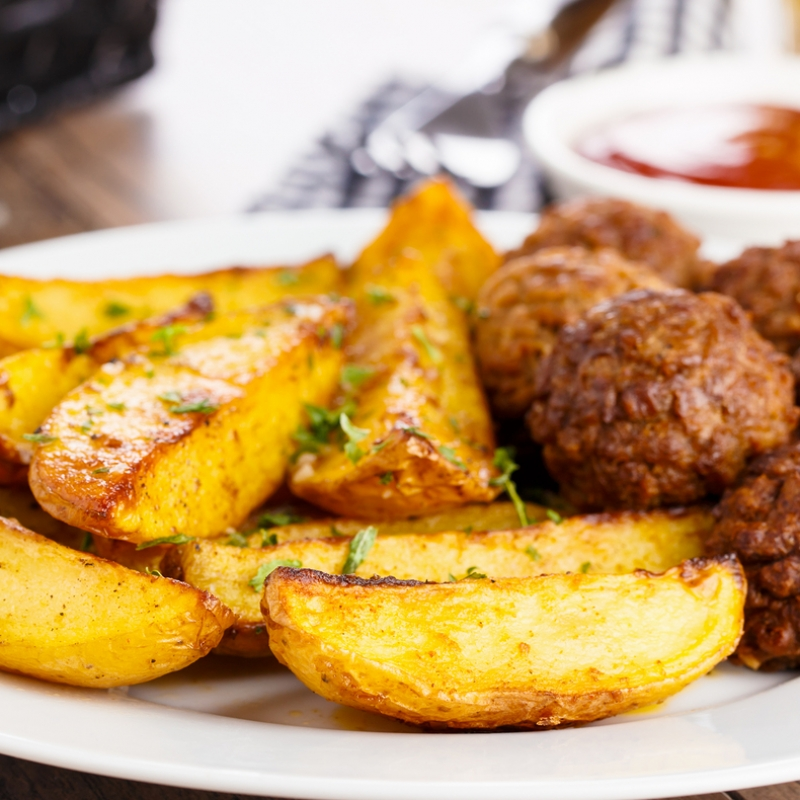 Baked Meatballs And Potato Wedges Recipe